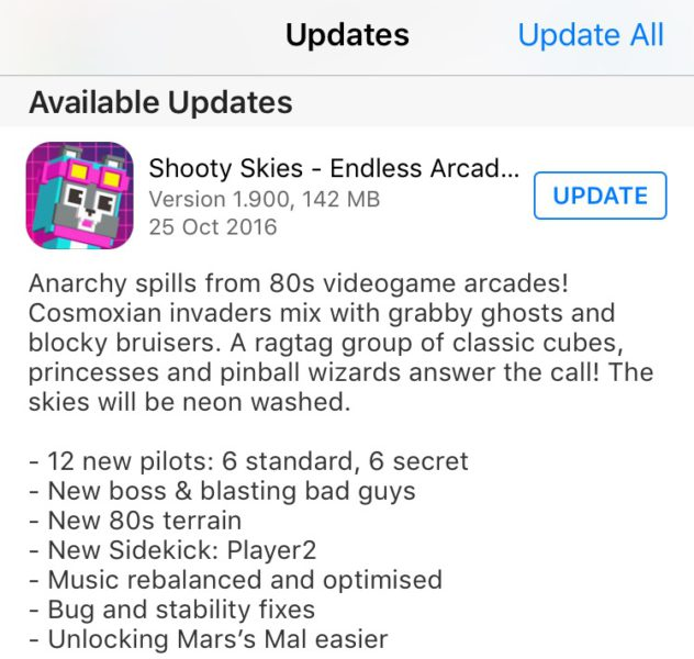 SHOOTY SKIES 80s Videogames Arcade Update - October 2016